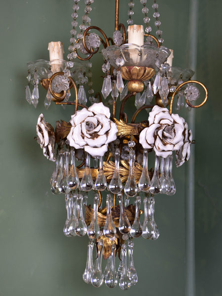 Italian chandelier with roses from the 1950's