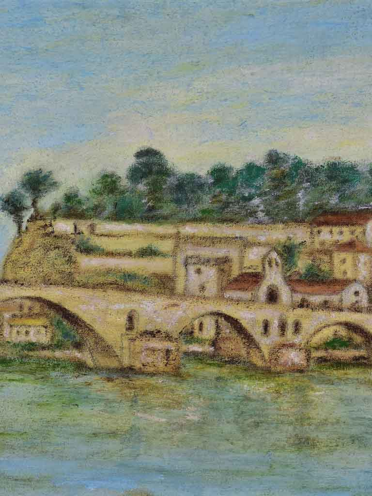 "Mid-century painting of the Pont d'Avignon 15"" x  30¾"""
