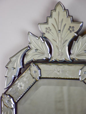 "Octangonal antique Venetian mirror with crest 27½"" x 14½"""