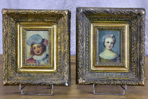 Pair of antique French portraits 10 ¾'' x 12 ¼''