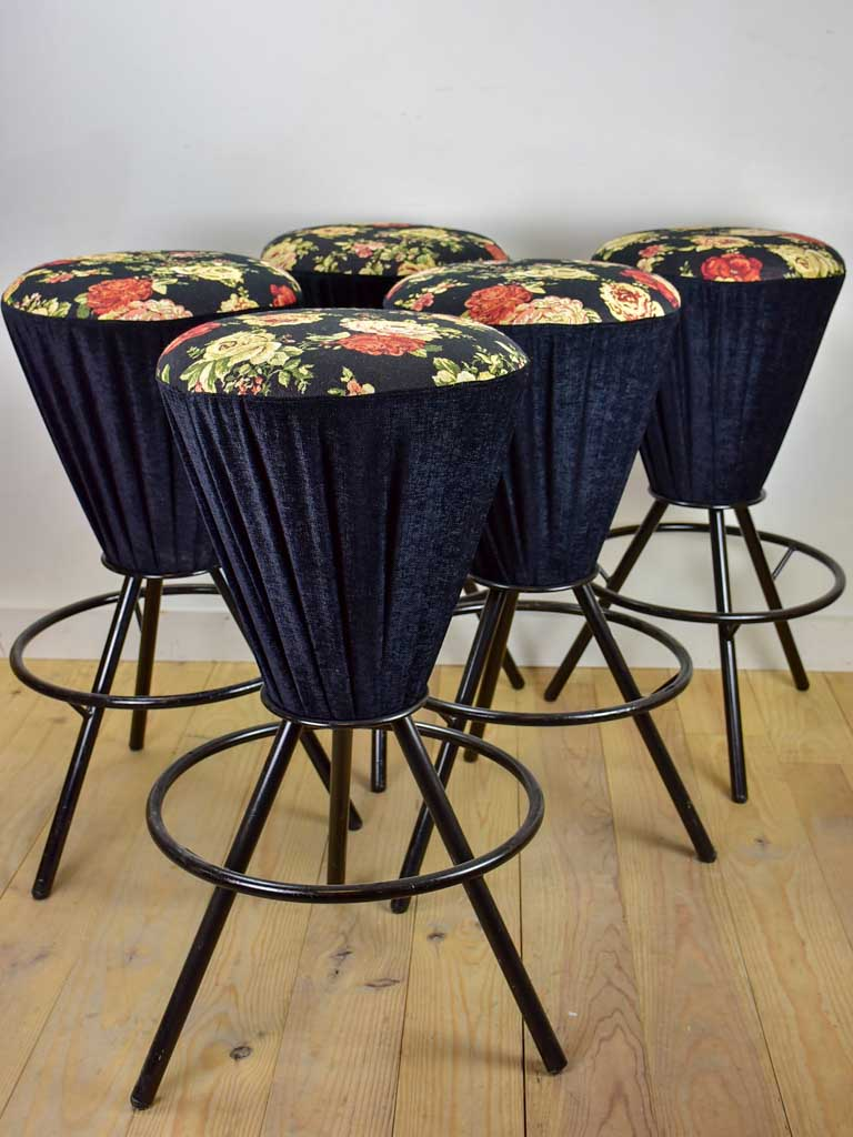 Set of five vintage Italian barstools with black floral upholstery