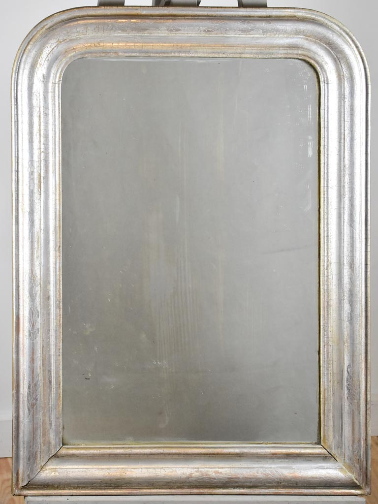 "Antique French Louis Philippe mirror with silver frame 26"" x 35"""