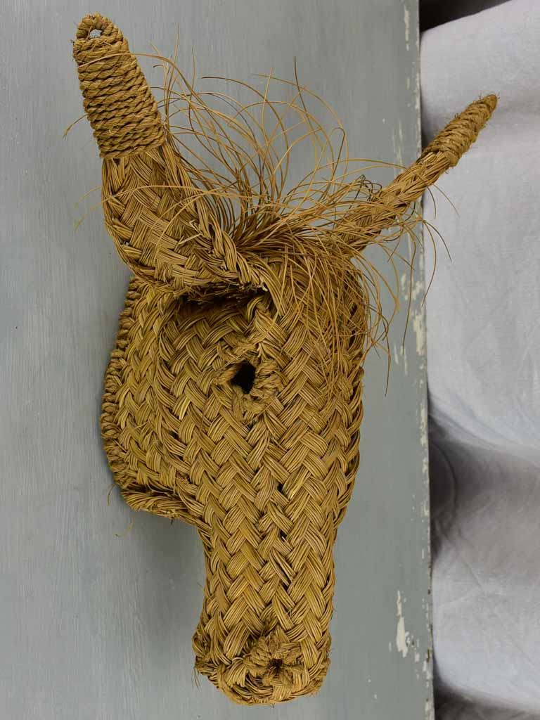 Vintage French donkey's head - straw
