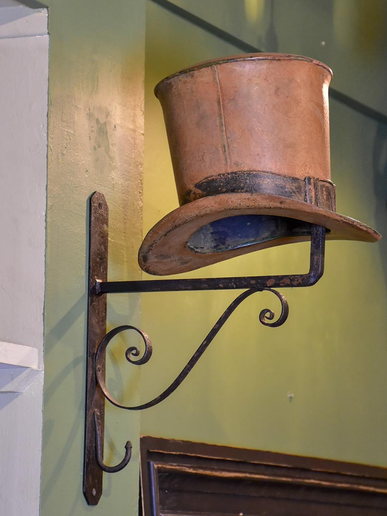 19th Century French sign from a milliner's shop with a top hat