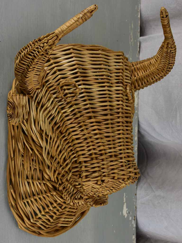 Vintage French bull's head - wicker