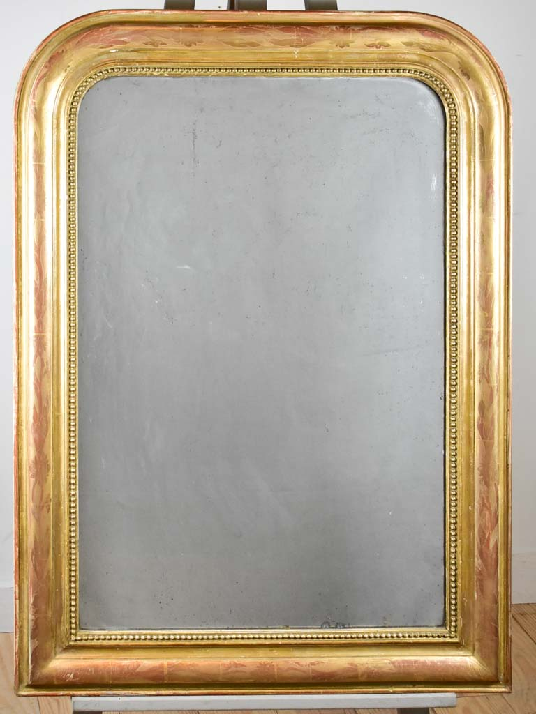 "Antique French Louis Philippe mirror with gilt frame and running pearl 28¾"" x  39¾"""