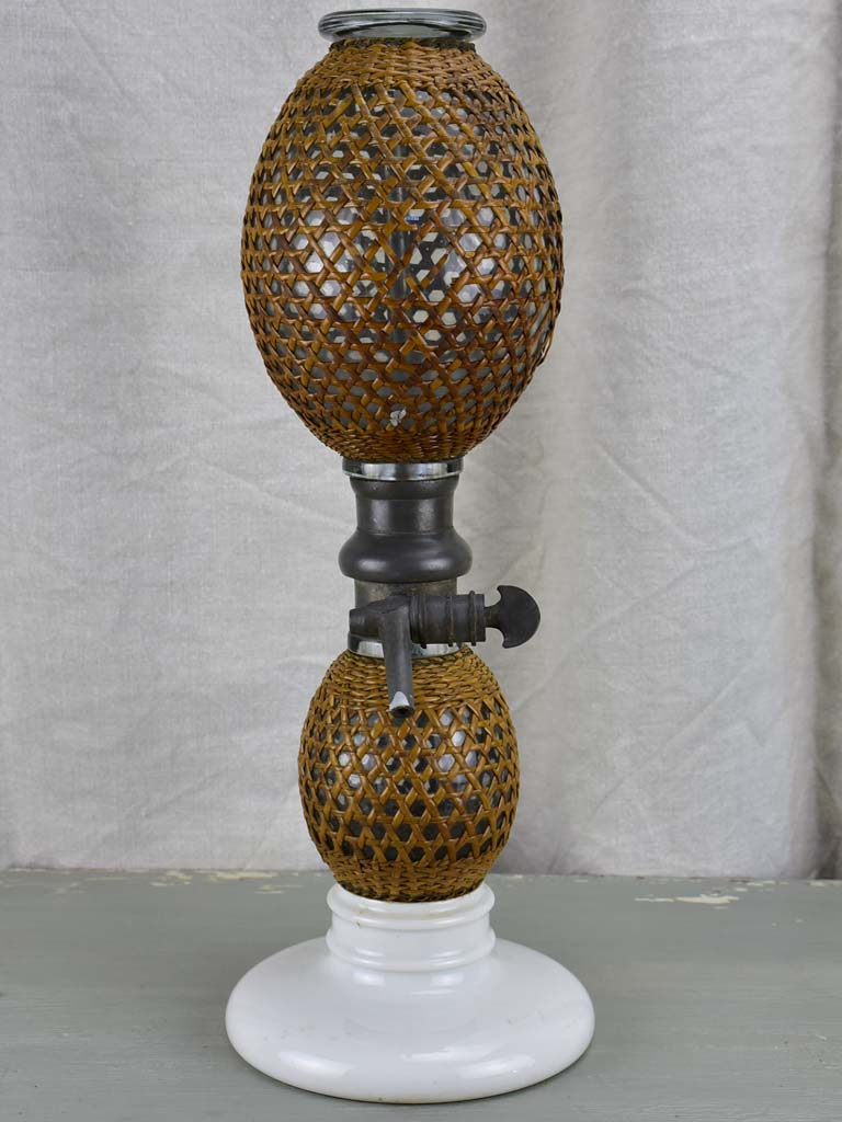 Antique French double soda siphon with cane