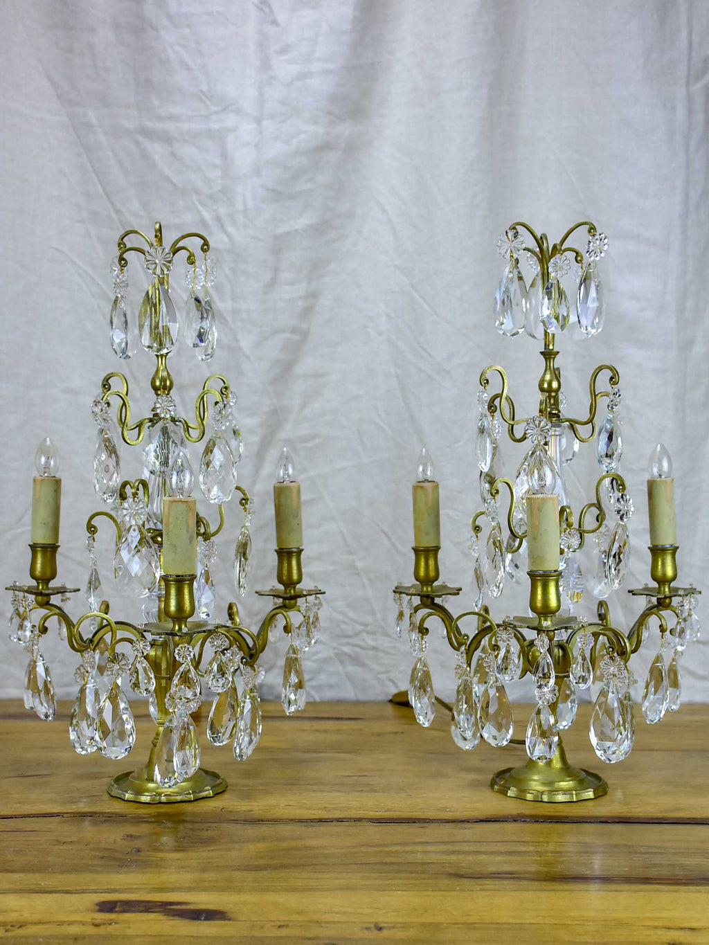 Pair of late 19th Century chandelier table lamps or Girandoles - three lights