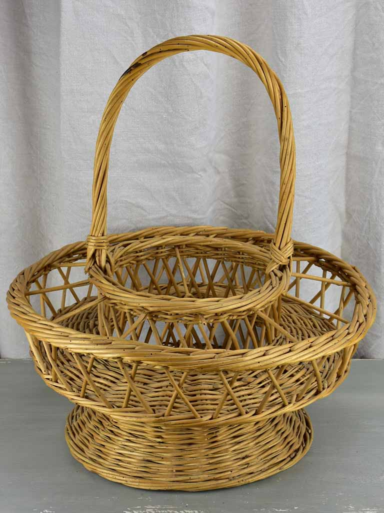 Large vintage French aperitif basket