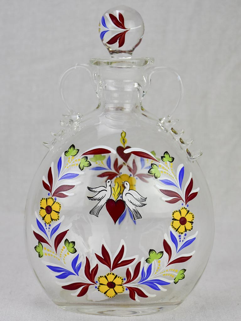 Romantic handpainted glass marriage flask with stopper - doves 9""