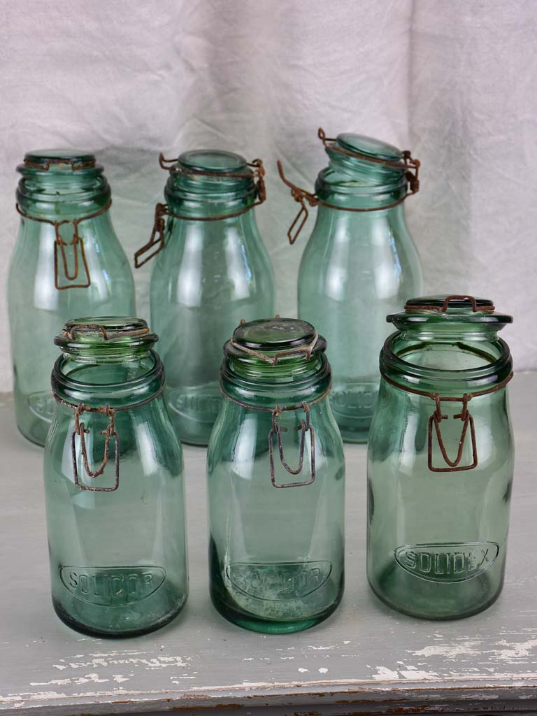 Collection of six antique French preserving jars