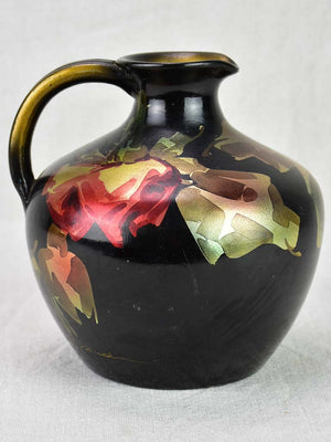 Vintage French pitcher from Vallauris with black red and gold flowers 7""