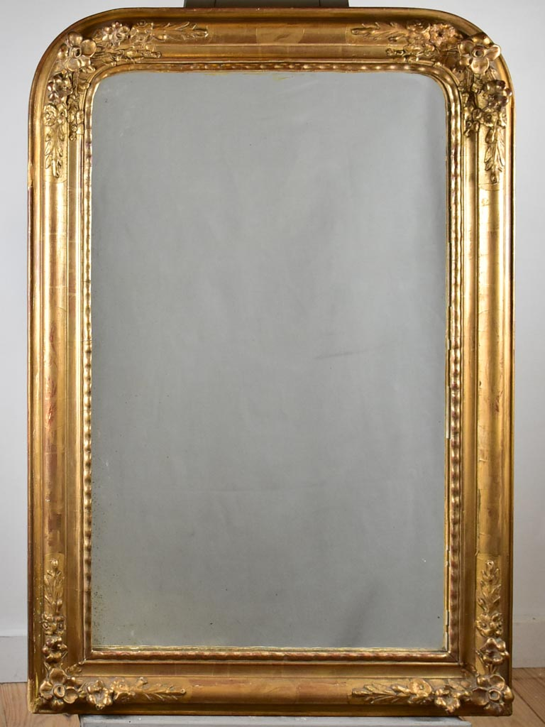 "Pretty antique French mirror with floral frame 28"" x 41¼"""