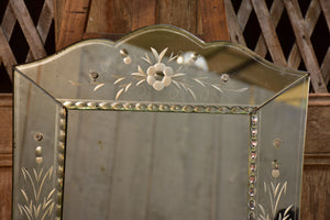 Vintage venetian style mirror with tapered frame