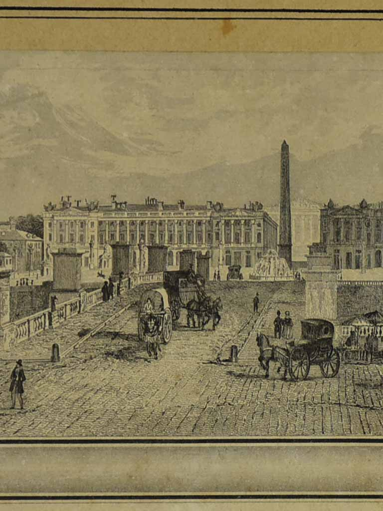"Early 19th Century engraving of Paris - Place de la Concorde 19"" x 11¾"""
