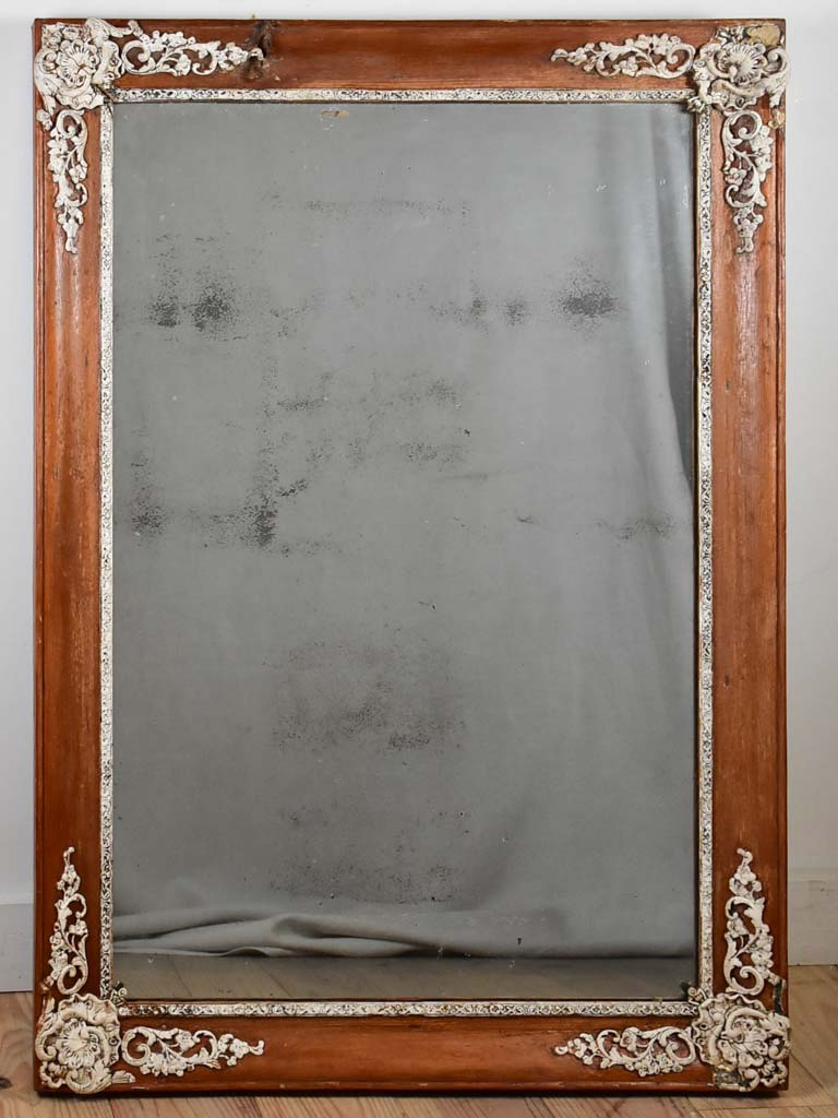 "Large early nineteenth century French mirror with timber frame 28¾"" x 41"""