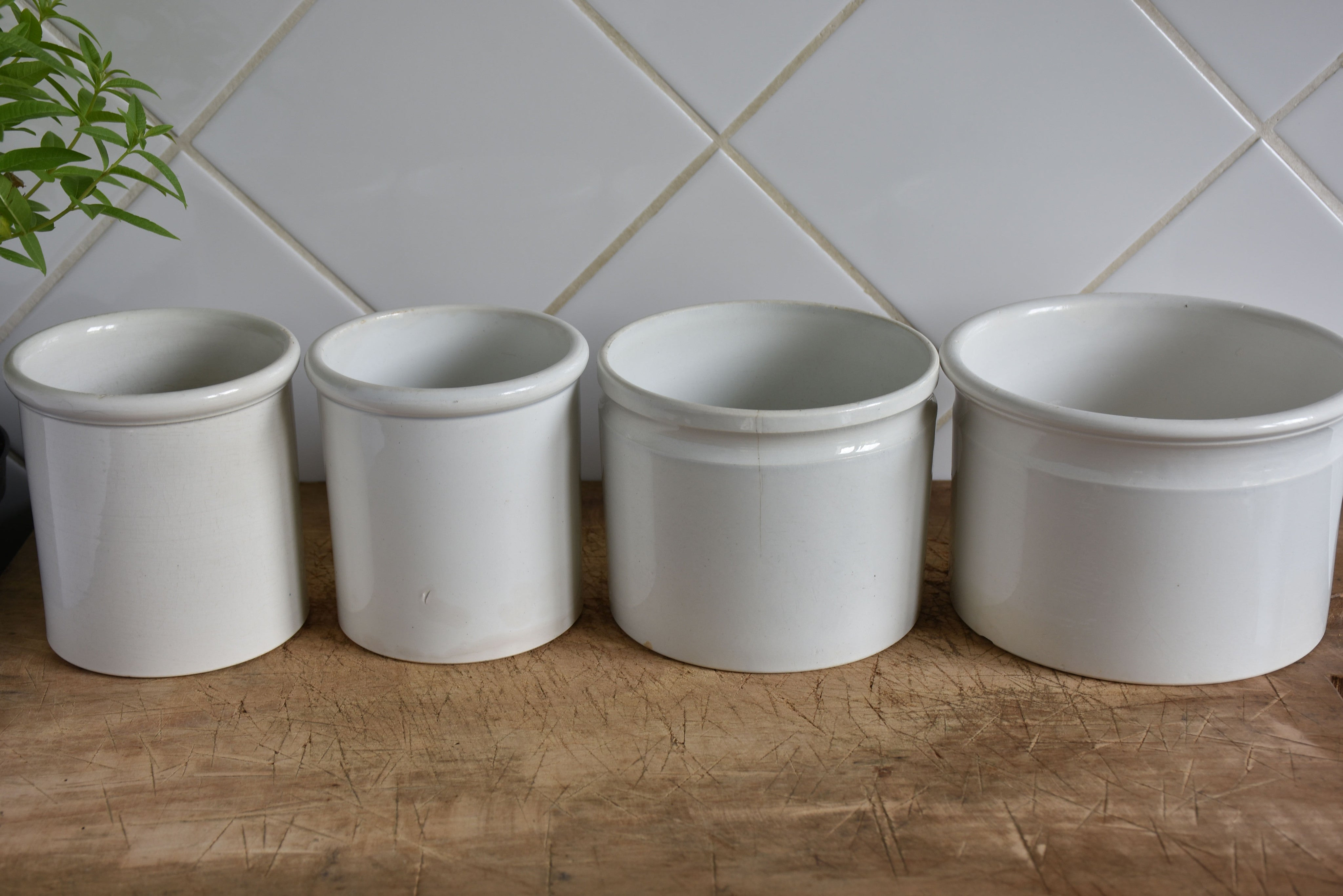 19th century French ironstone preserving jars – Four