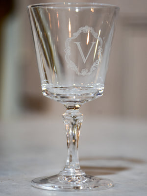 Vintage French crystal stemware collection with 'V' monogram