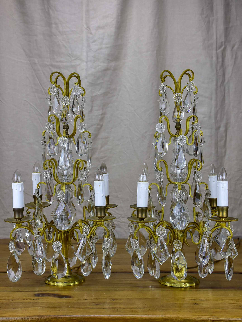 Pair of late 19th Century crystal table lamps or Girandoles - four lights