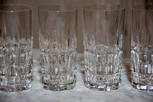 Six large crystal Manhattan highball glasses by St Louis