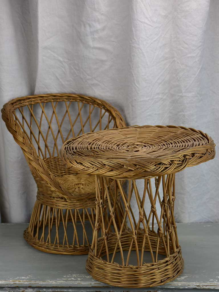 Mid-century children's wicker armchair and table