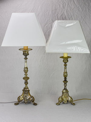 19th Century French candlestick lamp - large 32""
