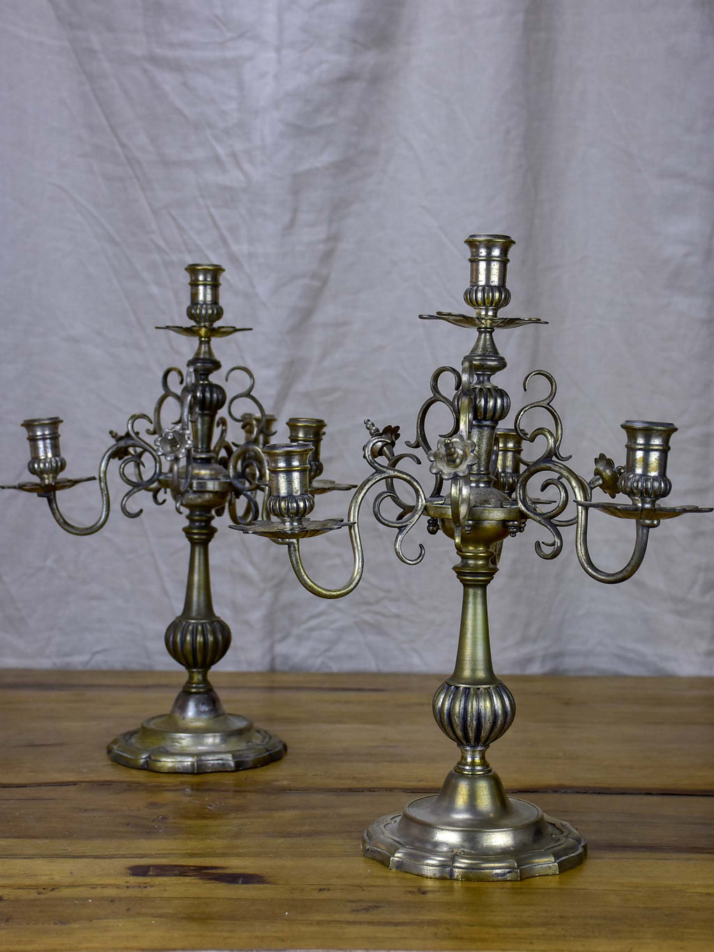 Pair of rustic late 19th Century candlesticks - 4 candles