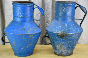 Pair of rustic blue agricultural vessels 20""