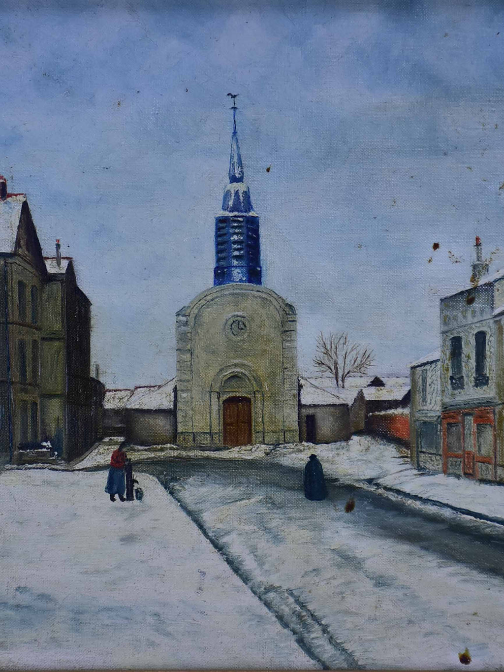 "Painting of the church of Esbly - 1959. 19"" x 15 ¾''"
