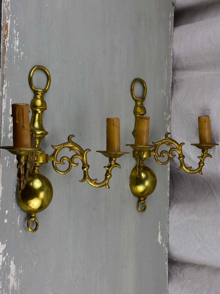 Pair of mid century brass wall appliques - double lights