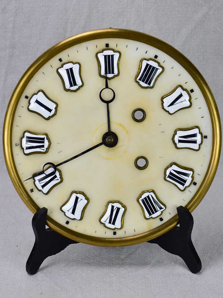 Salvaged Napoleon III clock face with enamel roman numerals 9¾""