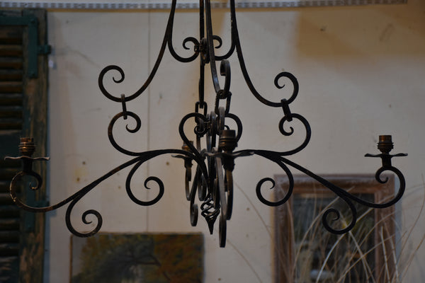 Vintage wrought iron French lustre