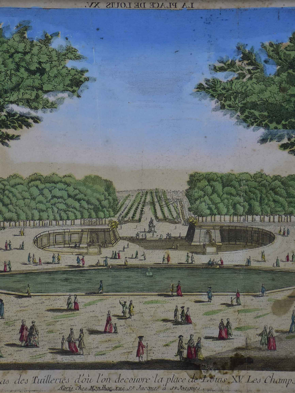 "Antique French etching of the Tuileries gardens, Paris 15"" x 21"""