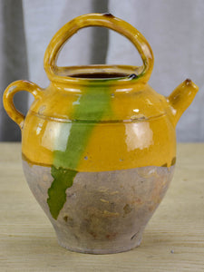 19th Century French water pitcher with yellow and green glaze 10¾""