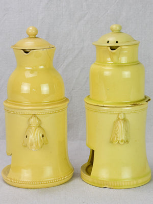 Two 18th century Louis XVI yellow ware teapots Apt Faience 10¼""