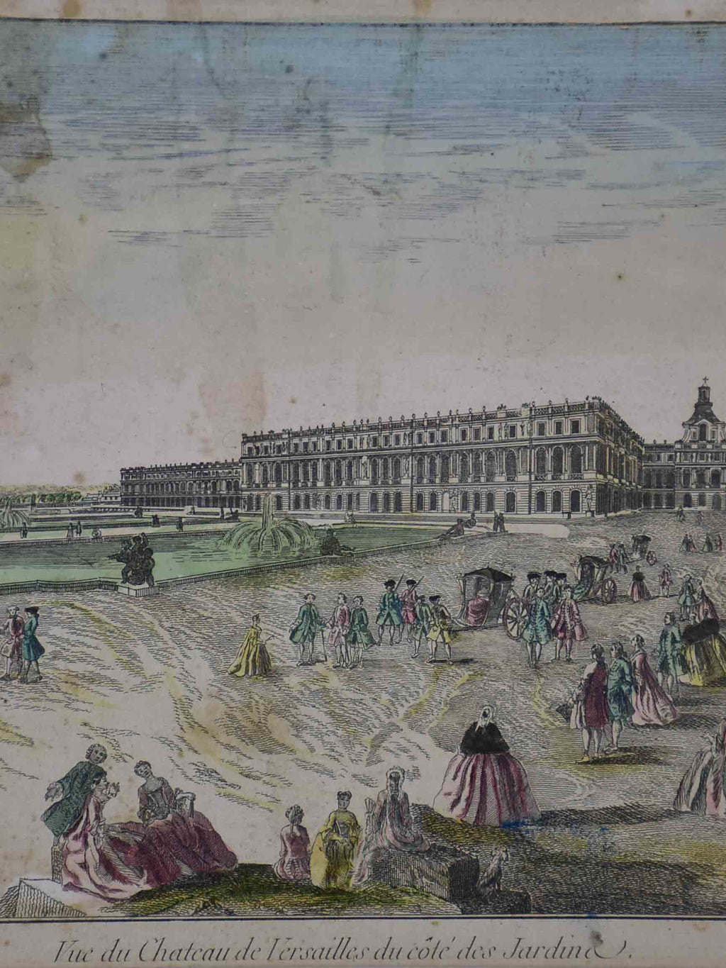 "Antique French etching of The Palace of Versailles 15"" x 19"""