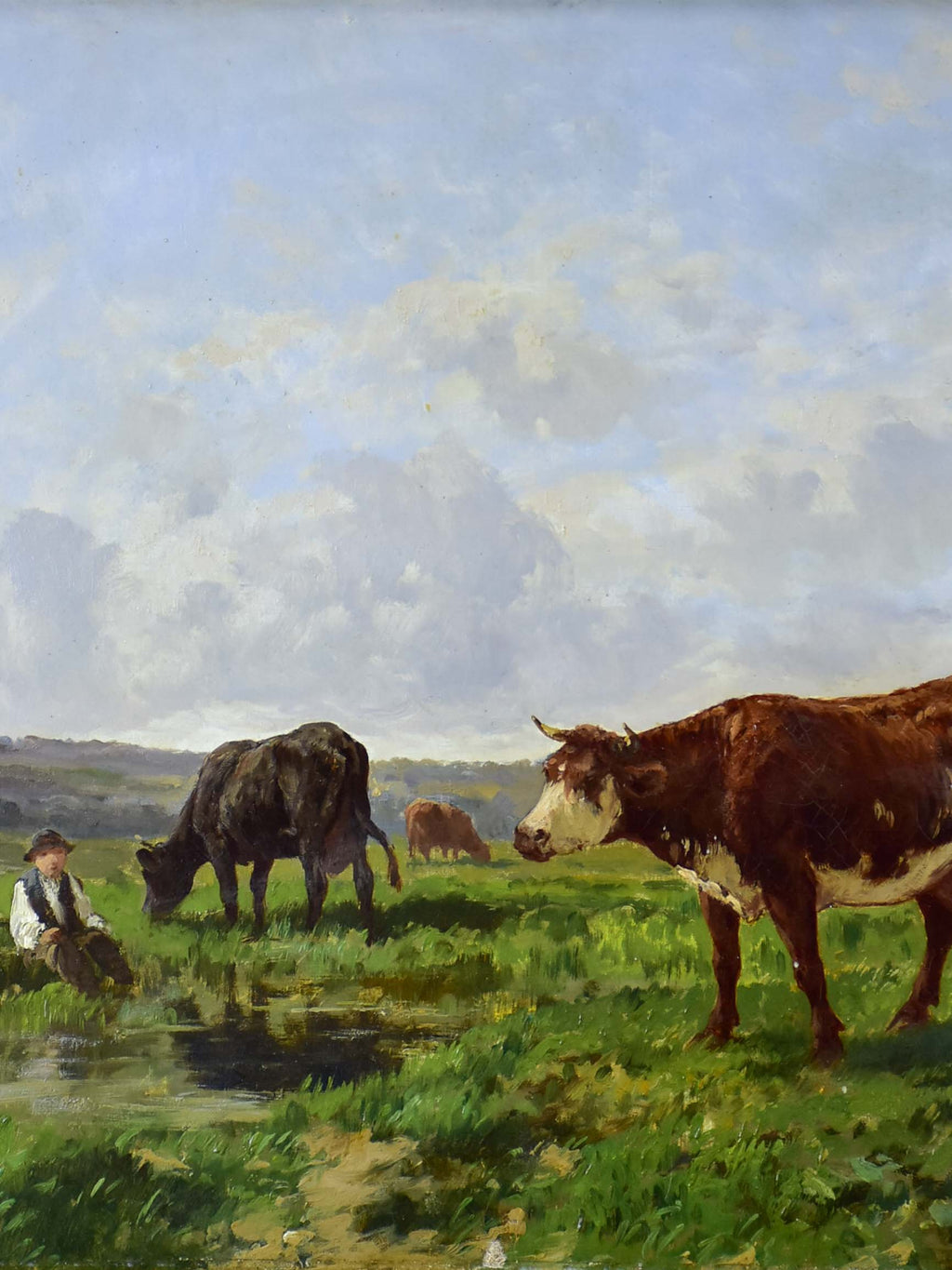 Painting of cows in a field, Ecole de Barbizon, Clement Quinton 34 ¼'' x 29 ½''