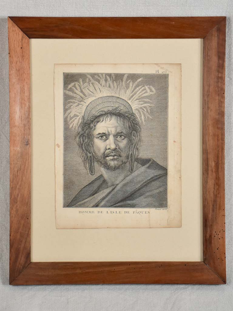 "Antique French engraving of a man from L'Isle de Paques 13"" x 16¼"""