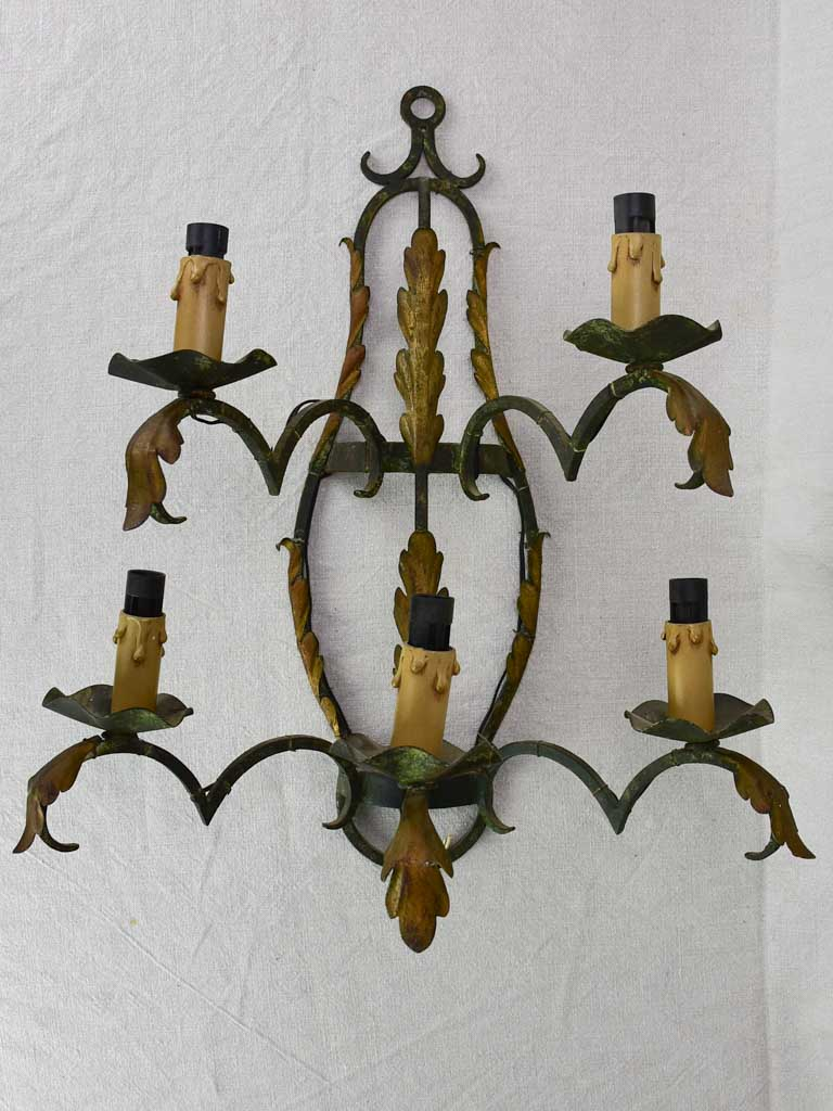 1960's French wall sconce with five lights 22½""