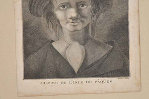 Antique French engraving of a woman from L'Isle de Paques 16¼""