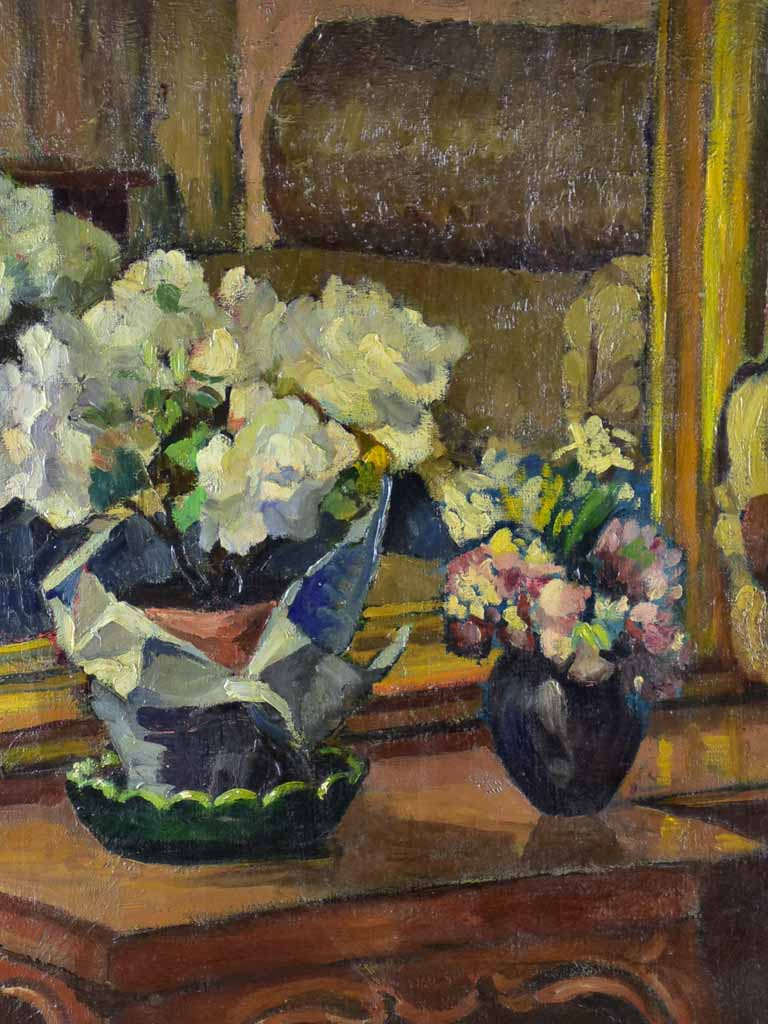 "Early 20th Century still life oil on canvas Bouquet de fleurs by Marguerite Allar (1899-1974) 26½"" x 32¾"""