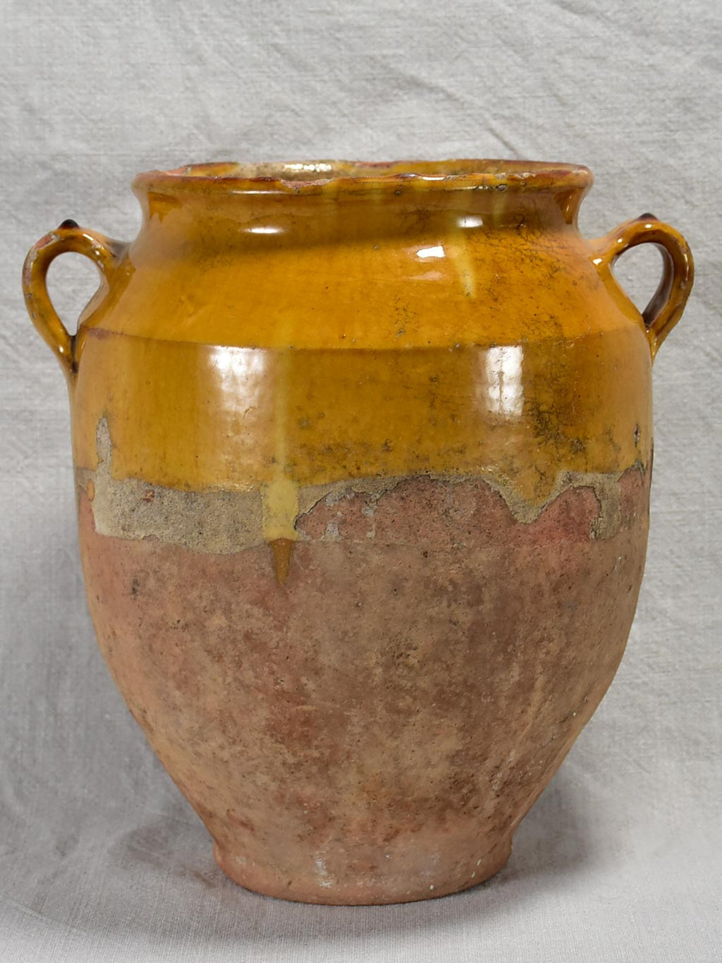 Antique French confit pot with yellow / orange glaze 11¾""