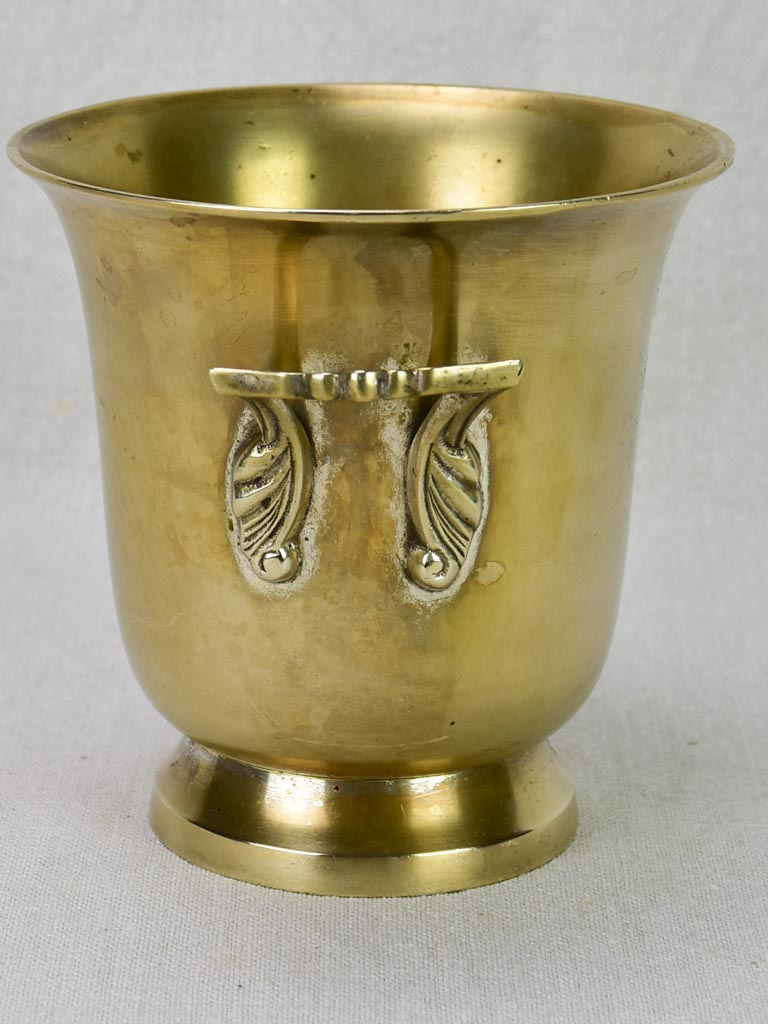 1920's French ice bucket with handles - brass 6""