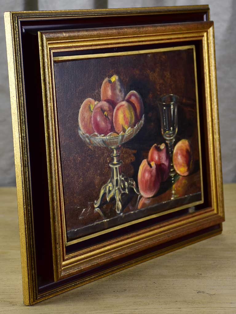 Vintage still life painting of peaches in a bowl, Les pêches 14½ x 18""""