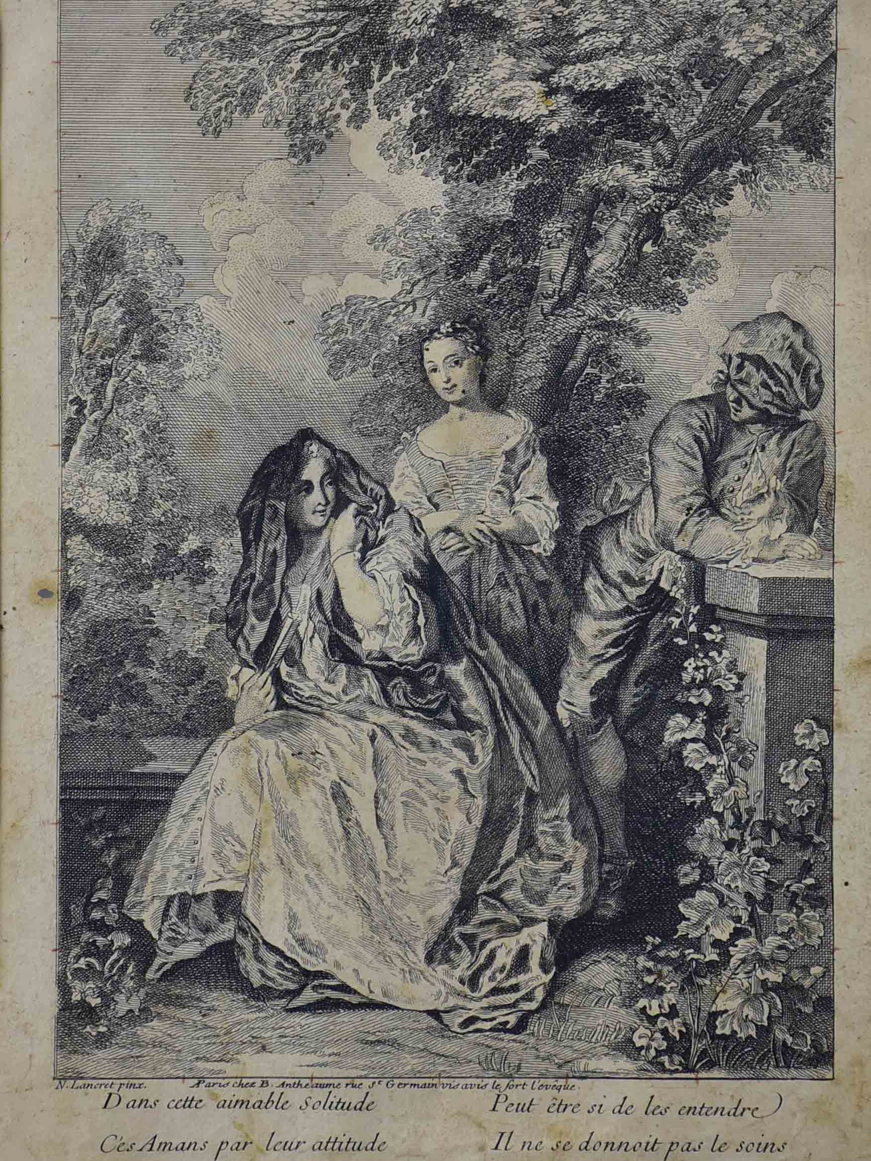 Antique French etching of women outdoors 12 ¾'' x 15 ¾''