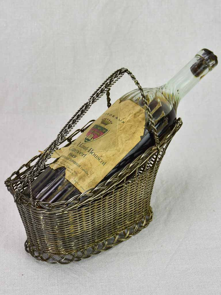 Antique French bottle carrier - woven metal