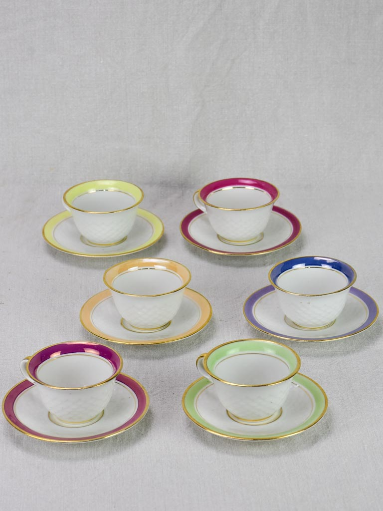 Six multi-color coffee cups and saucers Limoges 1950's