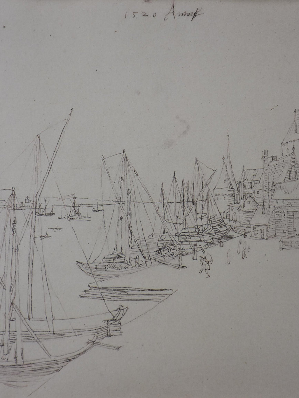 "Non-dated antique sketch of a harbor side village 13"" x 15 ¾''"