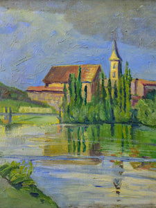 Early 20th Century French painting of a village on a river, M. Gautier 27 ½'' x 19""
