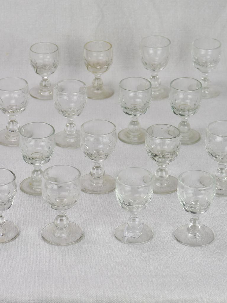 Lot of 16 blown glass digestif glasses from the early 20th century